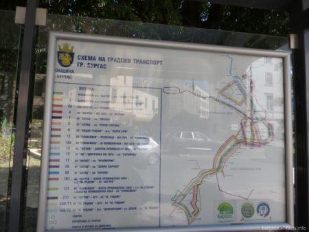 Схема маршрутов городского транспорта Бургаса