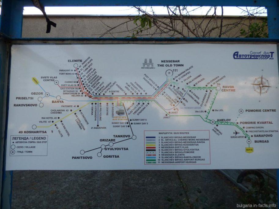 Разобраться в общественном транспорте Болгарии совсем не сложно. Почти на каждой остановке висит подобная схема и есть расписание.