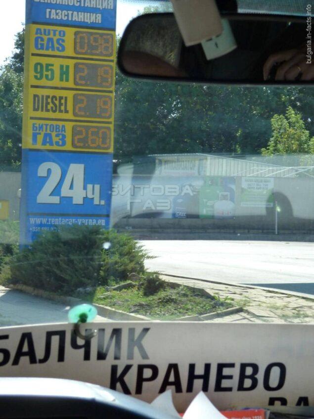 Стоимость бензина в Варне
