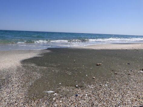 Дикий пляж на песчаной косе в Поморие