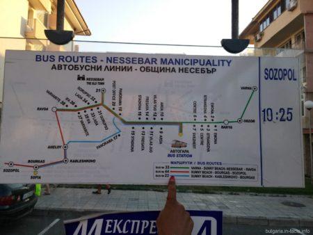 Карта и расписание автобусов в Болгарии